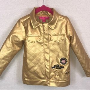 Betsey Johnson Metallic Gold Quilted Jacket • 4